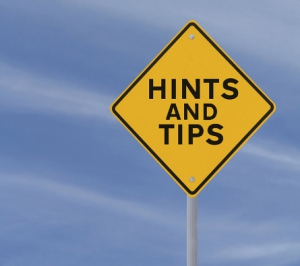 Hints and tips road sign
