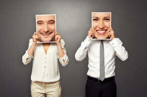 Man and woman with swapped facial images