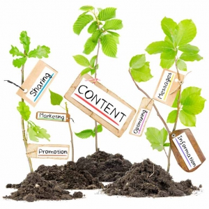 Plants growing with marketing messages attached
