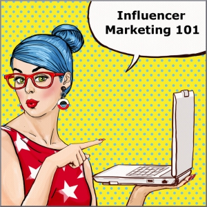 Teacher with laptop promoting influencer marketing