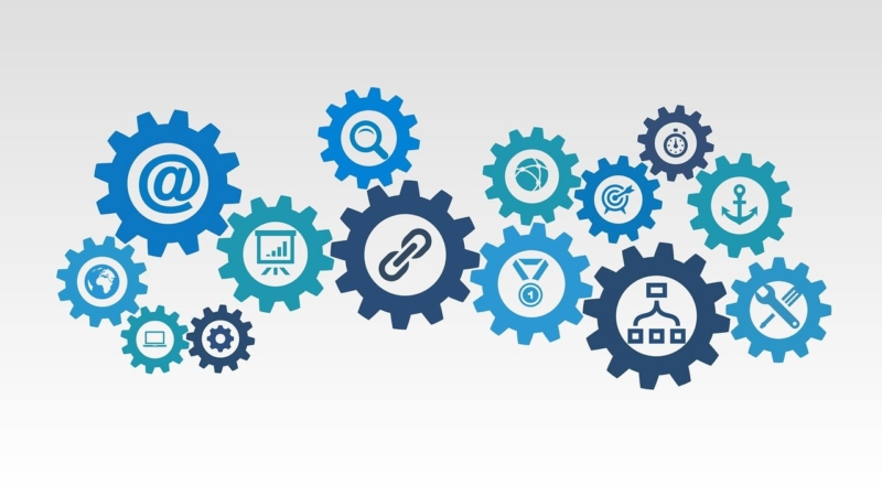 content marketing and social media icons that are in interlinking cogs